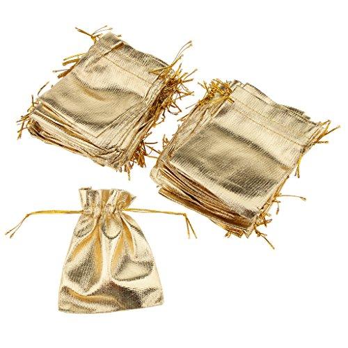 Baoblaze 100stk. Glitter Stoffsäckchen Geschenksäckchen Schmucksäckchen Süßigkeitensäckchen, Praktisch und Haltbar, 3.54 x 4.72 Zoll - Gold - Haltbares Kordelzug