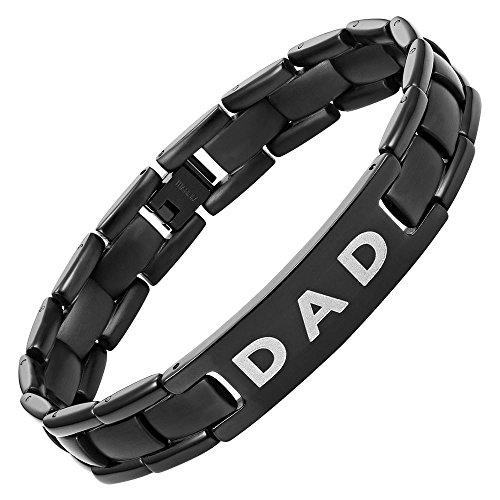 Willis judd–braccialetto dad in titanio love you dad con confezione regalo e strumento di rimozione maglie
