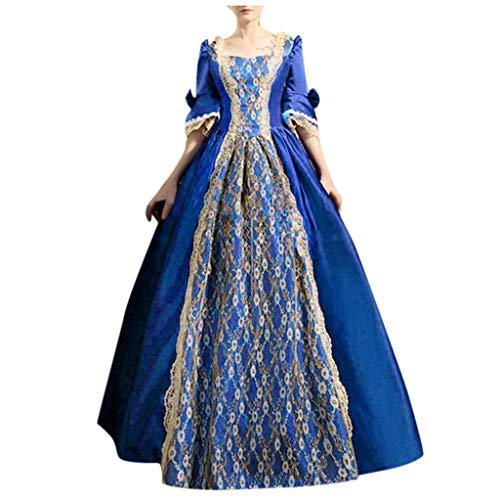 Lazzboy Kostüm Kleid Damen Gothic Retro Court Princess Halbarm Mittelalter Party Kostüme Kleid Ballkleid Renaissance Partykleid Maxikleid Cosplay Bodenlänge(Blau,4XL) -