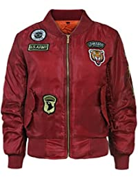 FLIRTY WARDROBE Kids Girls Boys Badges MA1 Bomber Jacket Children Pilot Military Coat Harrington