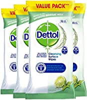 Dettol Cleaning Wipes Surface Cleansing Antibacterial Disinfectant, Lime and Mint Fragrance, Multipack 4 x 72, Total 288...