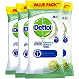 Dettol Cleaning Wipes Surface Cleansing Antibacterial Disinfectant, Lime and Mint Fragrance, Multipack 4 x 72, Total 288…