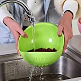 #10: Fruit Vegetable Rice Washing Strainer Bowl Storage Basket, Green