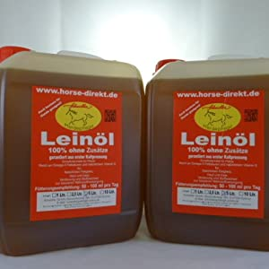 Horse-Direkt Premium Leinöl 10L (2×5 L Kanister) Für Pferde, Hunde & Katzen – Leinsamenöl Kaltgepresst Zum Barfen Fürs Tier – Natürlicher Futterzusatz
