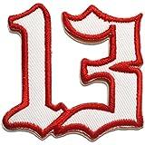 Parches - número 13 trece número de la suerte 13 - blanco - 6x6cm - termoadhesivos bordados aplique para ropa