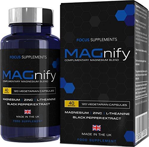 MAGnify integratori magnesio - 5 in 1 magnesio glicinato, magnesio taurato, L-teanina, zinco ed estratto di pepe nero per un migliore assorbimento | Focus Supplements | 120 compresse, senza glutine