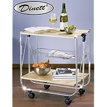 WENKO 713001500 Carrello cucina e portavivande Dinett Acero - pieghevole, MDF (Pannello fibra di legno pressato), 68 x 70 x 40.6 cm, Beige