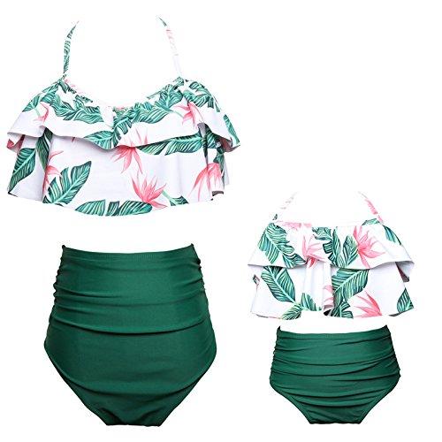 WANZIJING Badeanzug, Mami und ich Beach Bikini, Floral hoch taillierte Halfter Bademode Parent-Child Beachwear,140 (Baby Und Mami Kostüme)