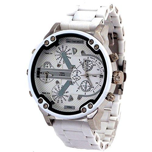 SASA Herren Quarzuhr Edelstahlarmband großes Zifferblatt 55mm Casual Fashion Outdoor Persönlichkeit Uhr, A