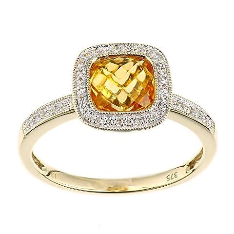 Naava Femme 9carats (375/1000) Or jaune Coussin Jaune Citrin Diamant