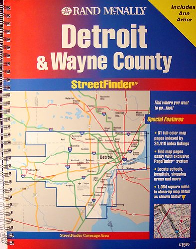 Rand McNally Detroit/Wayne County Street Finder (Streetfinder Atlas) North Wi-chart