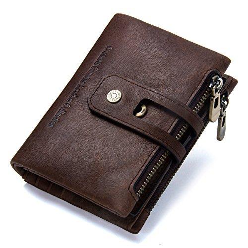 Contacts Herren Echtes Leder-Bifold Wallet Doppelreißverschlusstasche Geldbörse (Dunkler Kaffee)