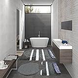 Art.Nr. 88 3 Teilig Badgarnitur Badmatte Set Badvorleger Stand-WC Medusa Grau-Weiß