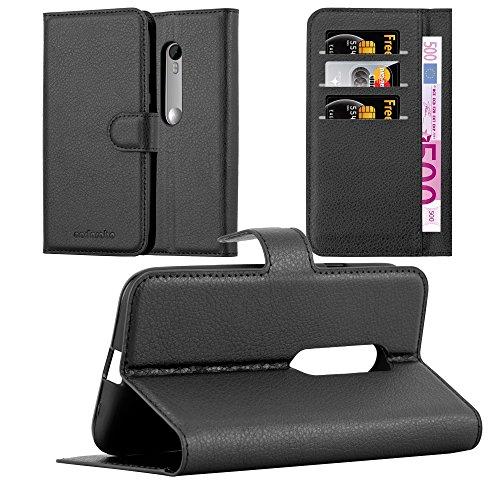 Cadorabo Hülle für Motorola Moto G3 - Hülle in Phantom SCHWARZ - Handyhülle mit Kartenfach und Standfunktion - Case Cover Schutzhülle Etui Tasche Book Klapp Style (Handy Cover Für G3)