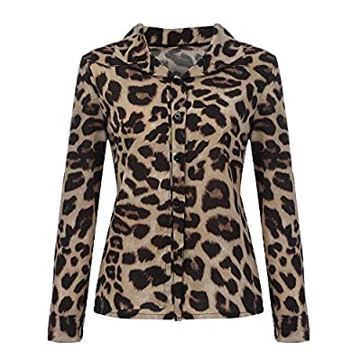 Sufeng Women Long Sleeve Casual Leopard Printing Button Shirt Tops Blouse