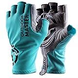 OutdoorMaster Fahrradhandschuhe männer & Damen, atmungsaktivem halbfinger Radsport Handschuhe mit rutschfestem Silikagel-speziell für Rennrad, Mountainbike-M-Blau