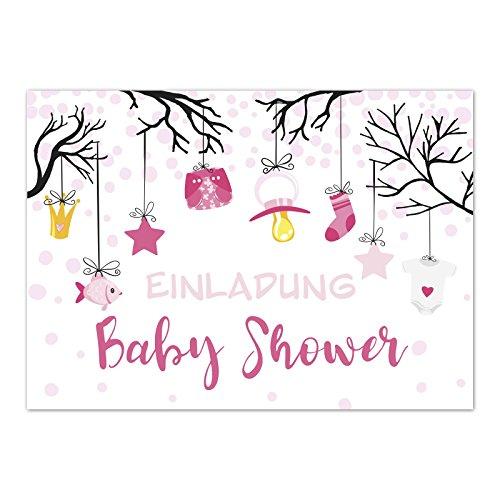 8 x Einladung Baby Shower Party/Einladungskarten mit Umschlag im Set/Motiv: Niedliche Illustrationen Mädchen rosa/Babyparty Karte/Postkarte/