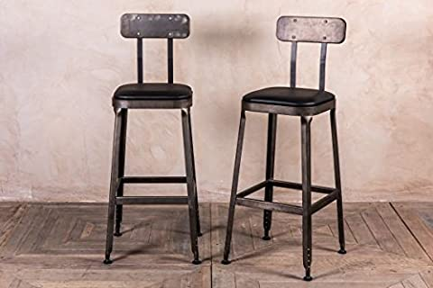 INDUSTRIAL LOOK BAR STOOLS GUNMETAL WITH PADDED