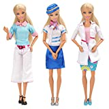 Miunana 3 Kleidung mit 3 Paar Schuhe Zubehör Lehrerin, Ärztin, Flugbegleiterin Business-Anzug...