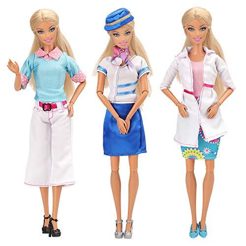 Miunana Carrières de Professeur, Médecin, Hôtesse de L'air, avec 3 Paires De Chaussures Costumes Carrières Tenues Professionnelles pour Poupée Barbie Cadeau de Noël