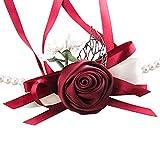 Aikesi.braccialetto mazzi polso fiore sposa o damigella d'onore simulazione braccialetto di perline rosa per matrimoni Festa o danze (C)