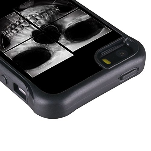 iPhone 5 5S case, True Color® rilievo stampato resistente agli urti TPU protettiva antiscivolo grip snap-on morbido robusto cover per iPhone 5 5S [True Impact Series] + pennino e pellicola protettiva  X-Ray Skull