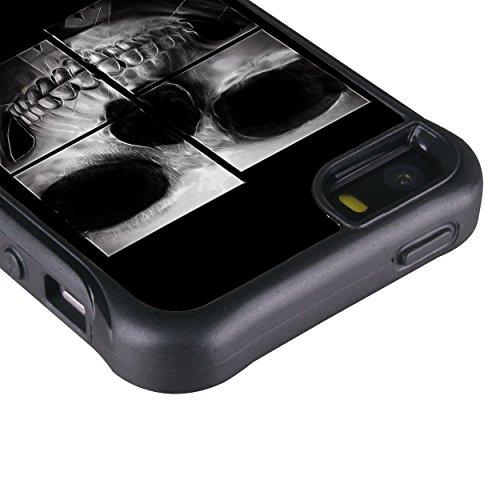 iPhone 55S case, True Color® rilievo stampato resistente agli urti TPU protettiva antiscivolo grip snap-on morbido robusto cover per iPhone 55S [True Impact Series] + pennino e pellicola protettiva  X-Ray Skull