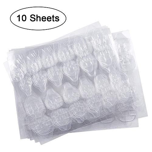 10 Blatt (240 Stück) Doppelseitiger Nagelkleber-Aufkleber, Kalolary Nagelkleber Jelly Gel Tape Adhesive Tabs Nagelkleber Transparent Flexible Adhesive Fake Nails Tips für die Maniküre -