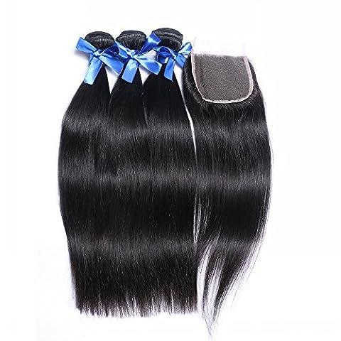 7A brésilien Cheveux humains tissage Soie droites 3trames et fermeture Cheveux Vierges Extention avec 4* 4en dentelle frontale Fermeture Base 40,6cm 40,6cm 40,6x 30,5cm