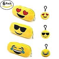Jansroad 3 Pcs Plush Emoji Pencil Pen Case Holder Bag Organizer Wrap Stationery Pouch Zipper Travel Cosmetic Bag Makeup Storage Case Coin Purse With 3 Pcs Cute Emoji Keychains