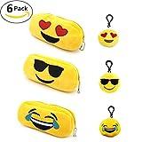 3pz peluche Emoji astuccio trousse Smile Cion portapenne cancelleria della cerniera trucco Storage con 3pezzi cute Emoji portachiavi