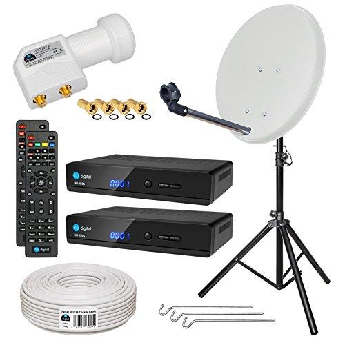 HB-DIGITAL Sat-Komplett-Set: Mini Sat Anlage 40cm Schüssel Hellgrau + UHD Twin LNB 0,1 dB + 20m Kabel + 2x HD 350S Receiver ( für HDTV geeignet ) + Alu Stativ