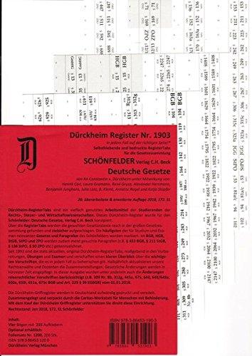 SCHÖNFELDER Dürckheim-Griffregister Nr. 1903 (2018/172.EL): 215 selbstklebende und bedruckte Griffregister für die Sammlung SCHÖNFELDER: Deutsche Gesetze, Hauptband, C.H.Beck Verlag