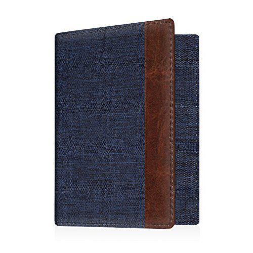 Fintie Reisepass Schutzhülle - Premium Stoff Passhülle Halter Brieftasche mit RFID Blockier für Reisepass, Visitenkarten, Kreditkarten, Indigoblau