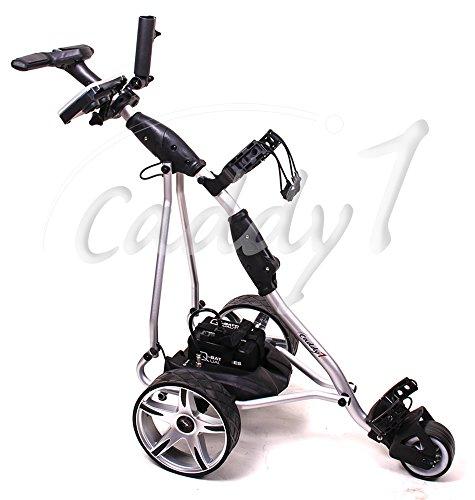 Elektro Golf Trolley CADDYONE 400 silber mit Lithium-Akku, 300W, 20Ah-Akku