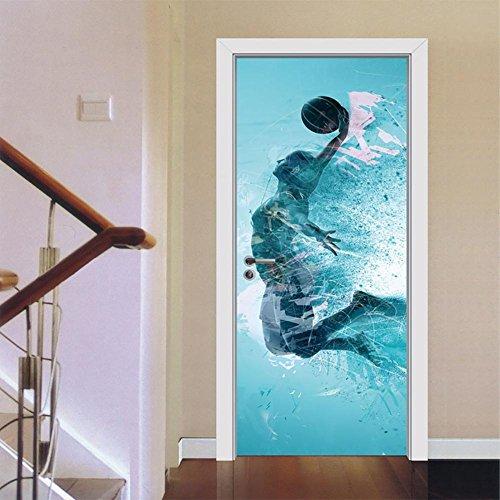 LTTSTD MT044 Türbild Türaufkleber Türposter 3D DIY Selbstklebend Wasserdicht Blau Springen Basketball Muster PVC Material Wandgemälde