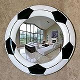 Mirror-BH Badezimmerspiegel, rund, schlicht, schwarz-weiß, kreativer Fußball, wasserdicht, Kunstharz, dekorativer Spiegel, modernes Design, Anti-Beschlag, silberfarben