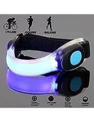 ARINO LED Armband Reflektorband Leuchtband Silikon Safty Licht Signalleuchte für Nachtlauf Fahrradfahren Jogging Anspornung Party und aller Outdoor Spartarten Wetterfest
