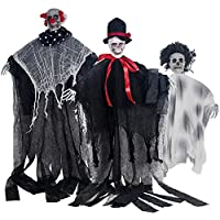 Listenman 3 Pack Halloween Hanging Ghost, Scary Flying Ghost Halloween Decorations Haunted House Props Halloween Skeleton Decor for Indoor Outdoor House Pub Party Decorations Supplies