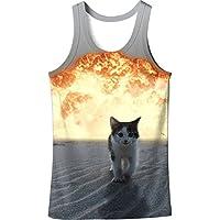 GZZ Los Hombres de Verano 3D Fire Cat Print Slim Tank Top/Large Size Base Creative Men's 3D Camiseta,Chaleco,L