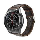 iBazal pour Gear S3 Bracelet, Gear S3 Frontier/Classic Bracelet de Montre 22mm Vintage Véritable Bracelet en Cuir pour Samsung Gear S3 Frontier/Classic SM-R760 et Moto 360 2nd Gen 46mm - Café