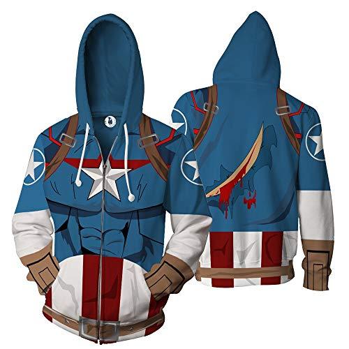 CSXGUO Kapuzenpullover,Captain's 3D Digital Printed Cap, Sanitärkleidung für offene Paare, Herrenjacke, blau, 5XL