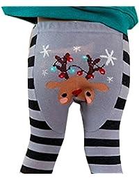 QUICKLYLY Legging Bebé Navidad Punto Algodón Rayas Elástico Pantalones Recién Nacido Medias