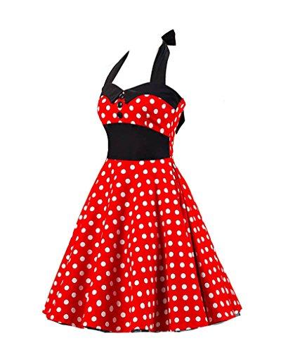 MISSMAO Femme Robe de Bal/Soirée Licou Vintage année 40 50 60 avec des Points Polka Rockabilly Robe Rouge Gros Blanc Point