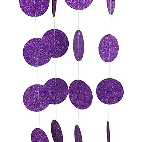 OULII Glitter Paper guirlande ronde points Hanging Decor pour mariage nuptiale fête d'anniversaire Baby Shower Event