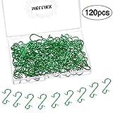MELLIEX 120 Piezas Gancho de árbol Navidad Mini Ganchos Colgar Ganchos de Metal para Colgar Adornos de árboles de Navidad Bolas de Navidad (Verde)