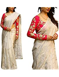 Surti Creation Women's Cotton Silk Saree With Blouse Piece (Off-White1_White)