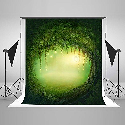 KateHome PHOTOSTUDIOS 2x3m Mikrofaser Frühling Spring Fotografie Hintergrund Grün Fotohintergründe Baum Loch Fotografie Hintergrund Kinder Hintergrund für Studio