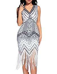Comeon Gatsby Dress, Women 1920s Art Deco Sequin Paisley Flapper Tassel Glam Party Cocktail Dresses