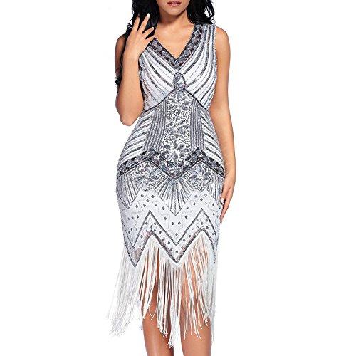 Comeon Damen Flapper Kleider voller Pailletten Retro 1920er Jahre Stil V-Ausschnitt Great Gatsby Motto Party Damen Kostüm Kleid (Weiß, L)